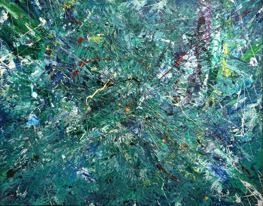 Yvan Ducharme peintre abstrait 104- Forêts, lacs et chemins 28x22