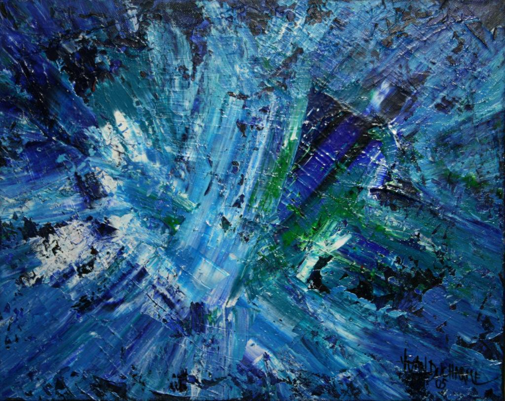 Yvan Ducharme peintre abstrait 109- Exploration en bleu #2 20x16