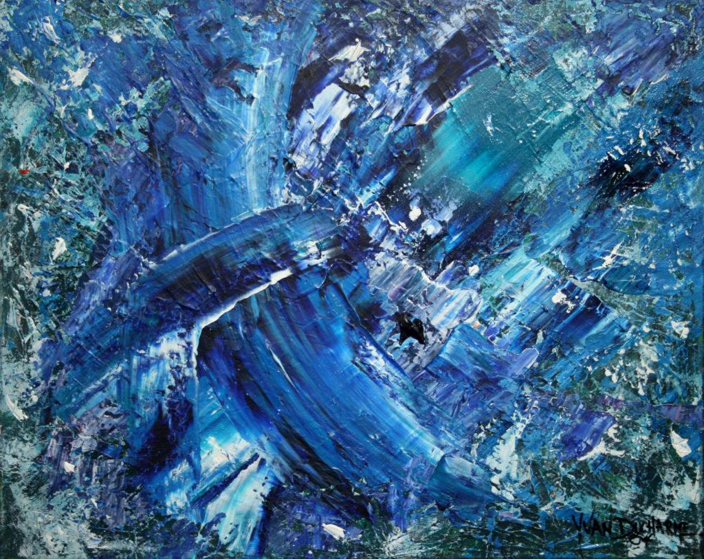 Yvan Ducharme peintre abstrait 110- Exploration en bleu 20x16