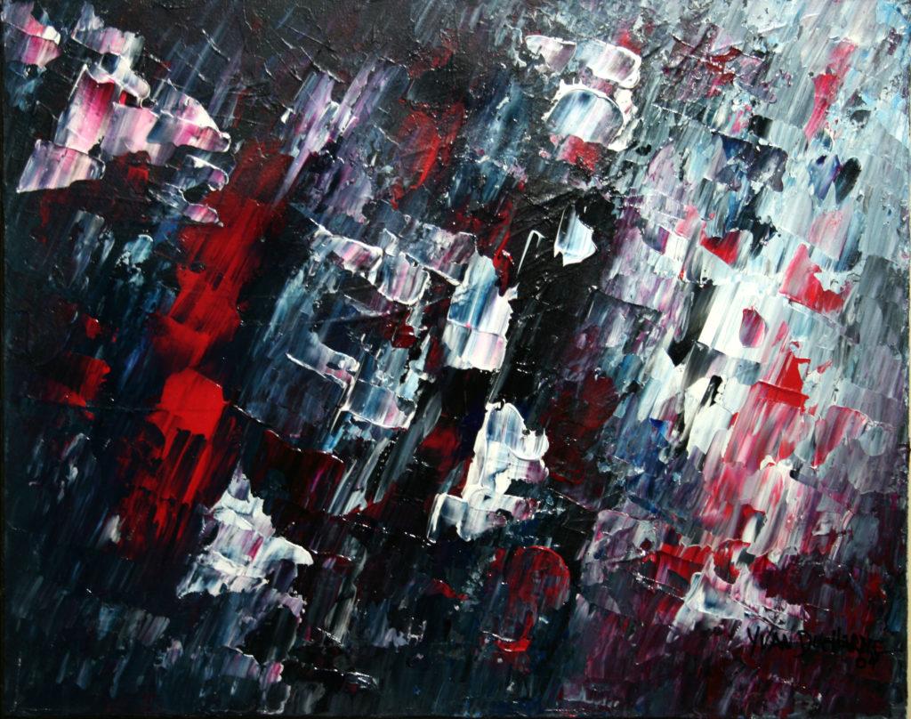 Yvan Ducharme peintre abstrait 111- Ciel enneigé 20x16