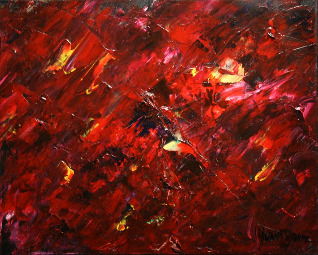 Yvan Ducharme peintre abstrait 113- Braise 20x16
