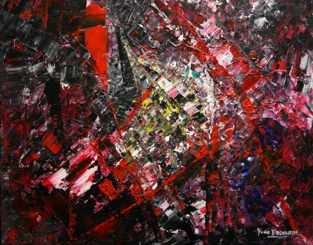 Yvan Ducharme peintre abstrait 114- Le perroquet 20x16