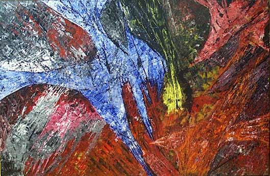 Yvan Ducharme peintre abstrait 119-206- Poissons exotiques 35x23 SUR LAMINÉ