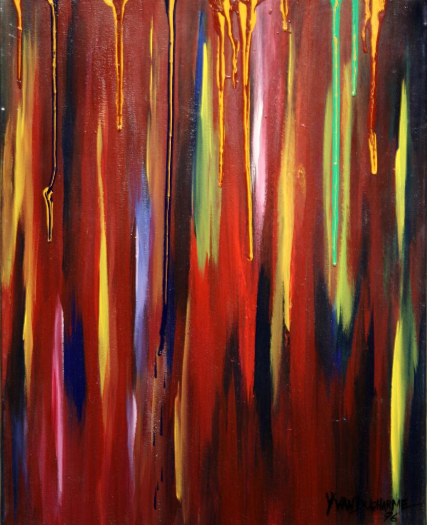 Yvan Ducharme peintre abstrait 129- Toile en devenir 16x20
