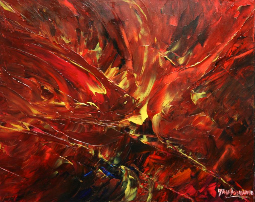Yvan Ducharme peintre abstrait 131- Rencontre des poissons volants 20x16