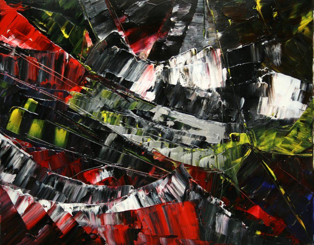 Yvan Ducharme peintre abstrait 164- Les clefs perdus 20x16
