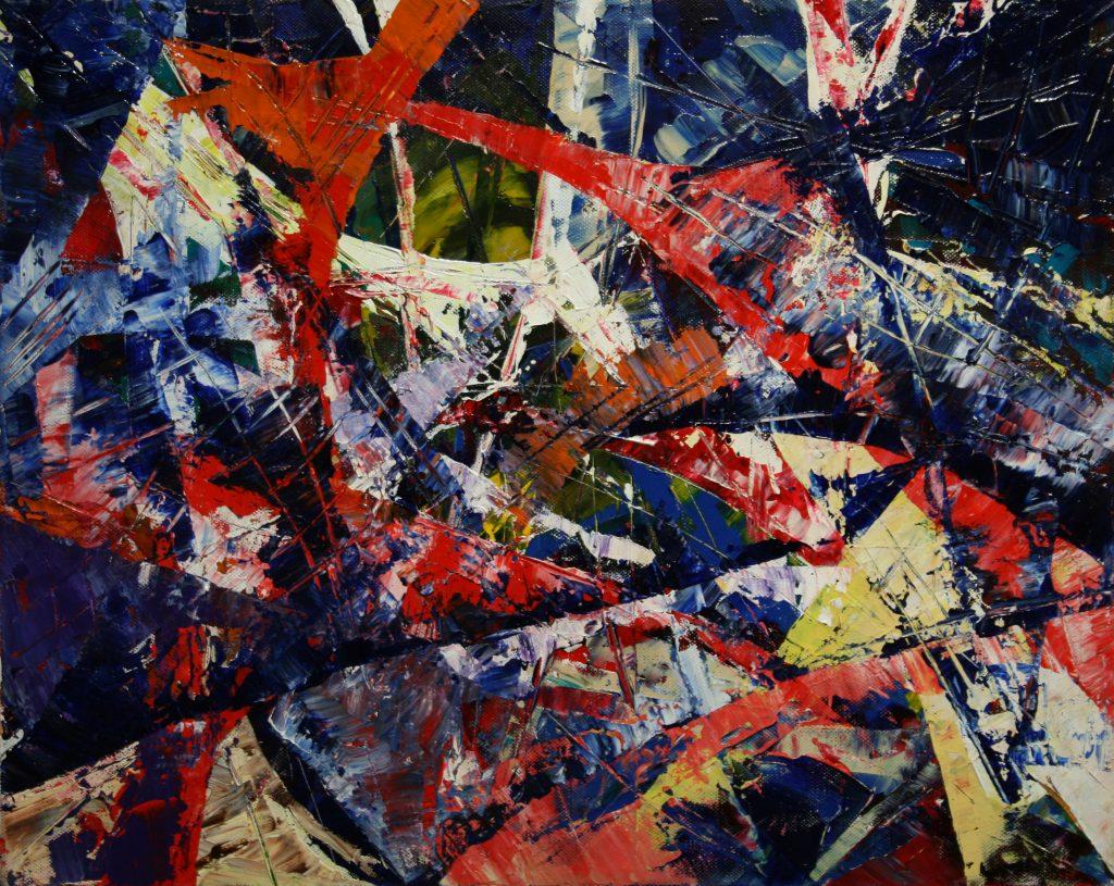 Yvan Ducharme peintre abstrait 169-Moulins à vent 20x16