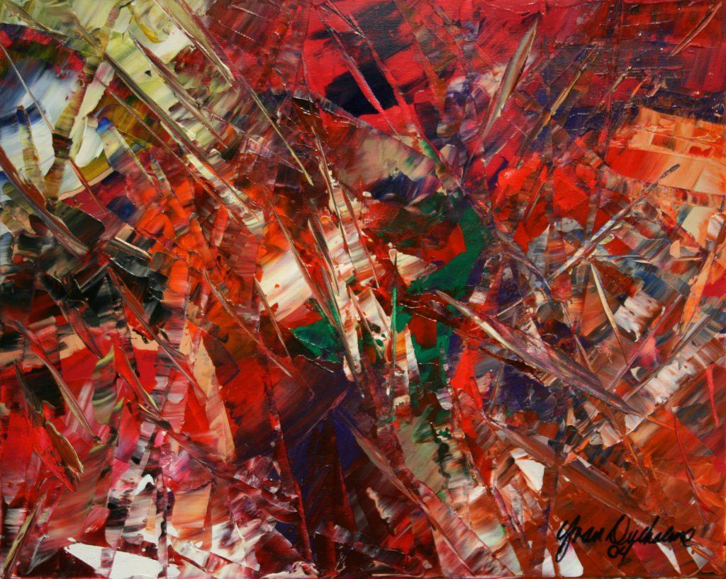 Yvan Ducharme peintre abstrait 172-Ciseaux et couteaux 20x16
