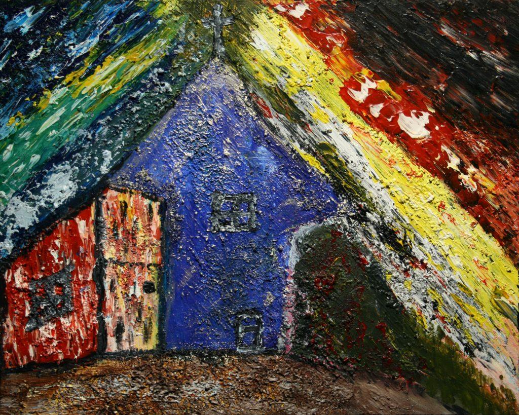 Yvan Ducharme peintre abstrait 176-La petite maison bleue 20x16