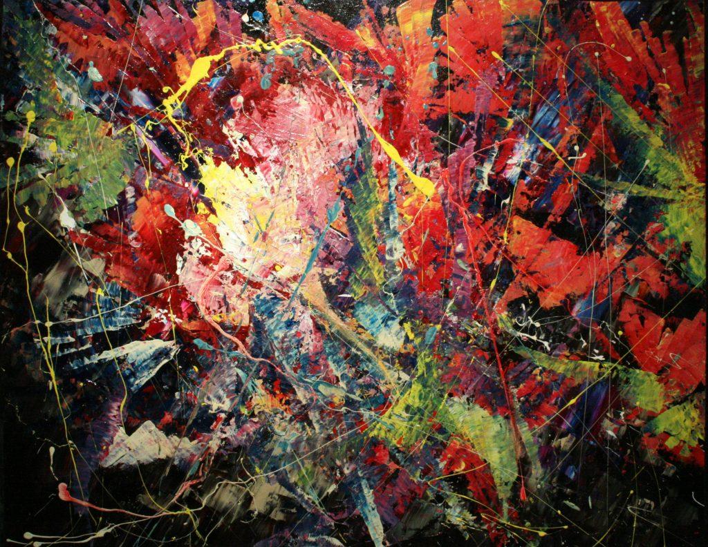 Yvan Ducharme peintre abstrait 184- Les fleurs de ma mère 28x22