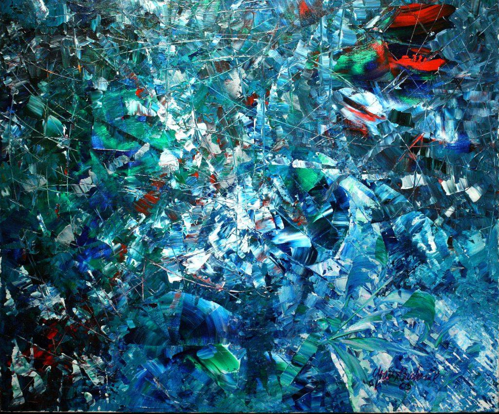 Yvan Ducharme peintre abstrait 185- En vert et contre tout bleu 24x20