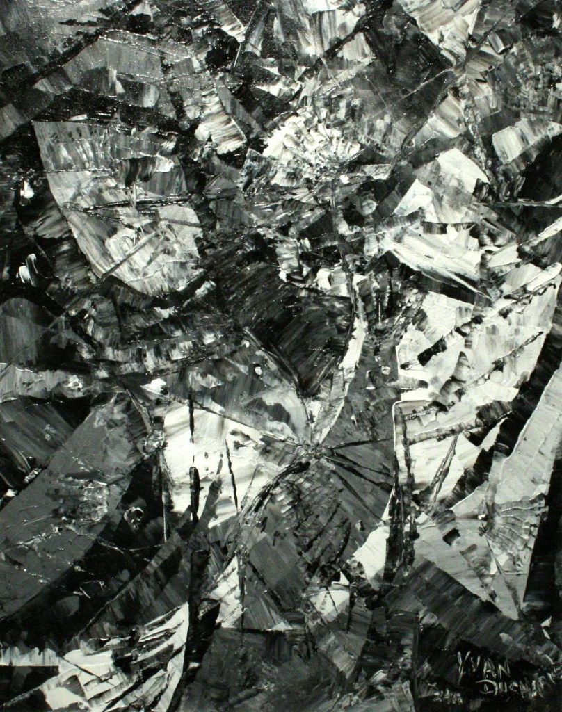 Yvan Ducharme peintre abstrait 186- La perdrix 16x20