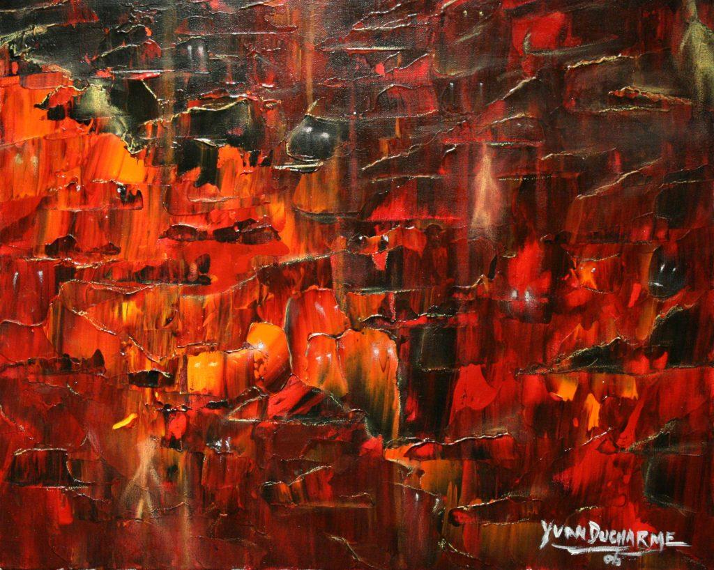 Yvan Ducharme peintre abstrait 189-Les masques 20x16