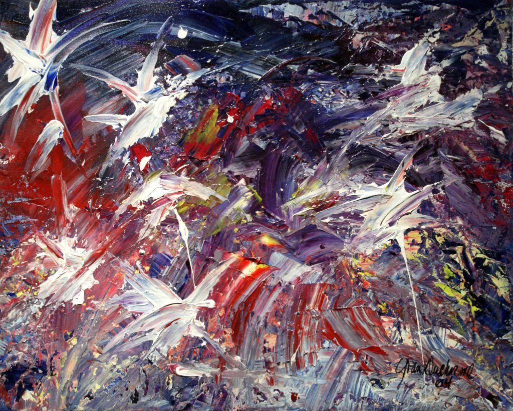 Yvan Ducharme peintre abstrait 198- Célébrations 20x16