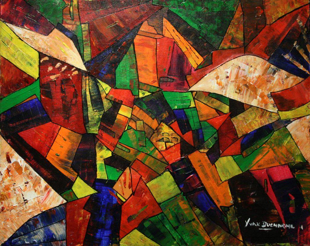 Yvan Ducharme peintre abstrait 199- Colombe dans un crane 20x16