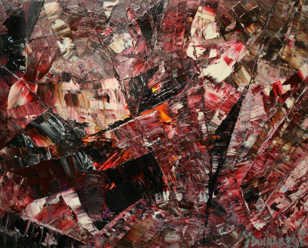Yvan Ducharme peintre abstrait 203- Le cavalier et son cheval 20x16