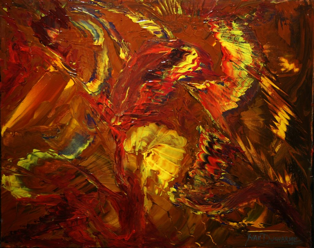 Yvan Ducharme peintre abstrait 208- Pow Wow 20x16