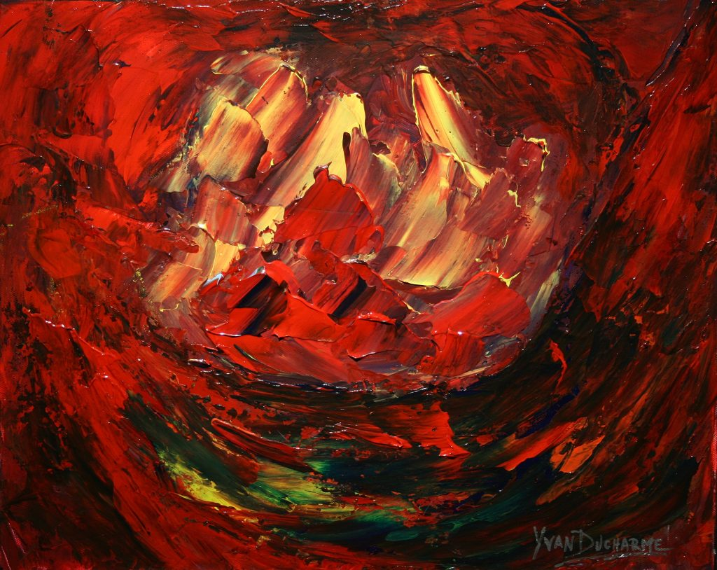 Yvan Ducharme peintre abstrait 209- Orages de feu 20x16