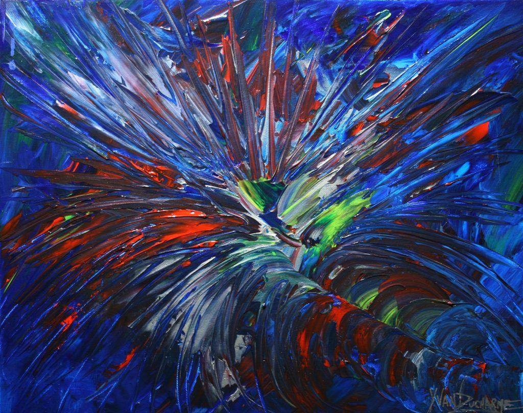 Yvan Ducharme peintre abstrait 219- Le coq 20x16