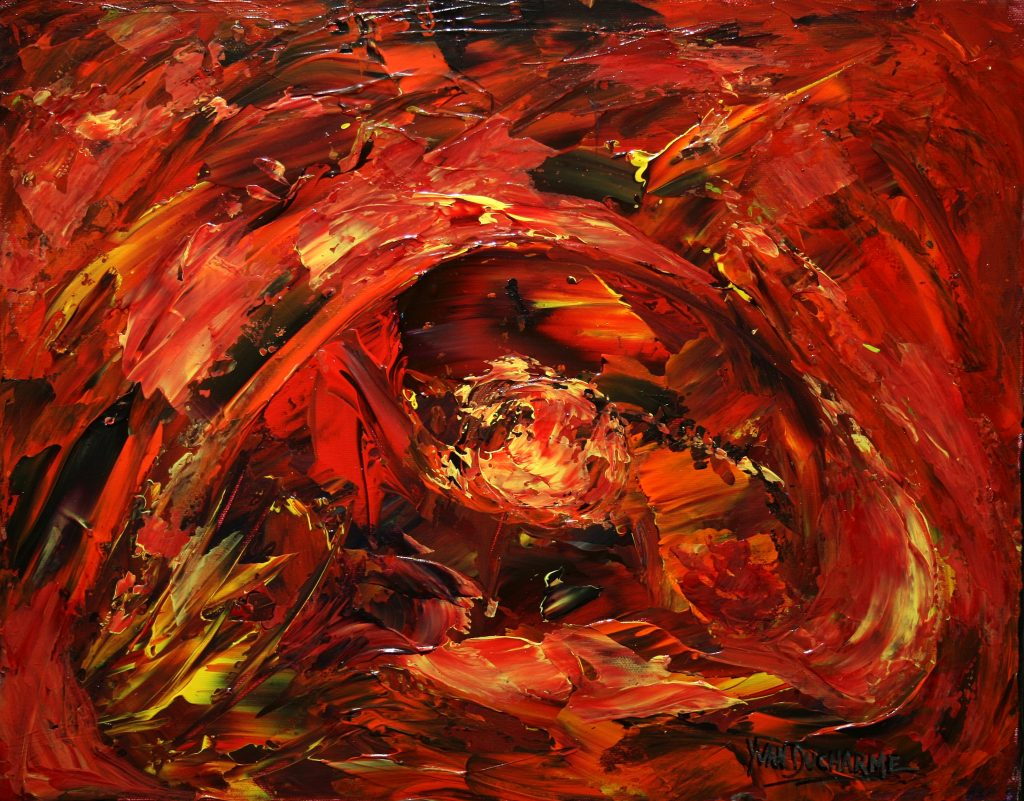 Yvan Ducharme peintre abstrait 221- Les incroyables voyages du fabuleux poisson jaune orange 20x16