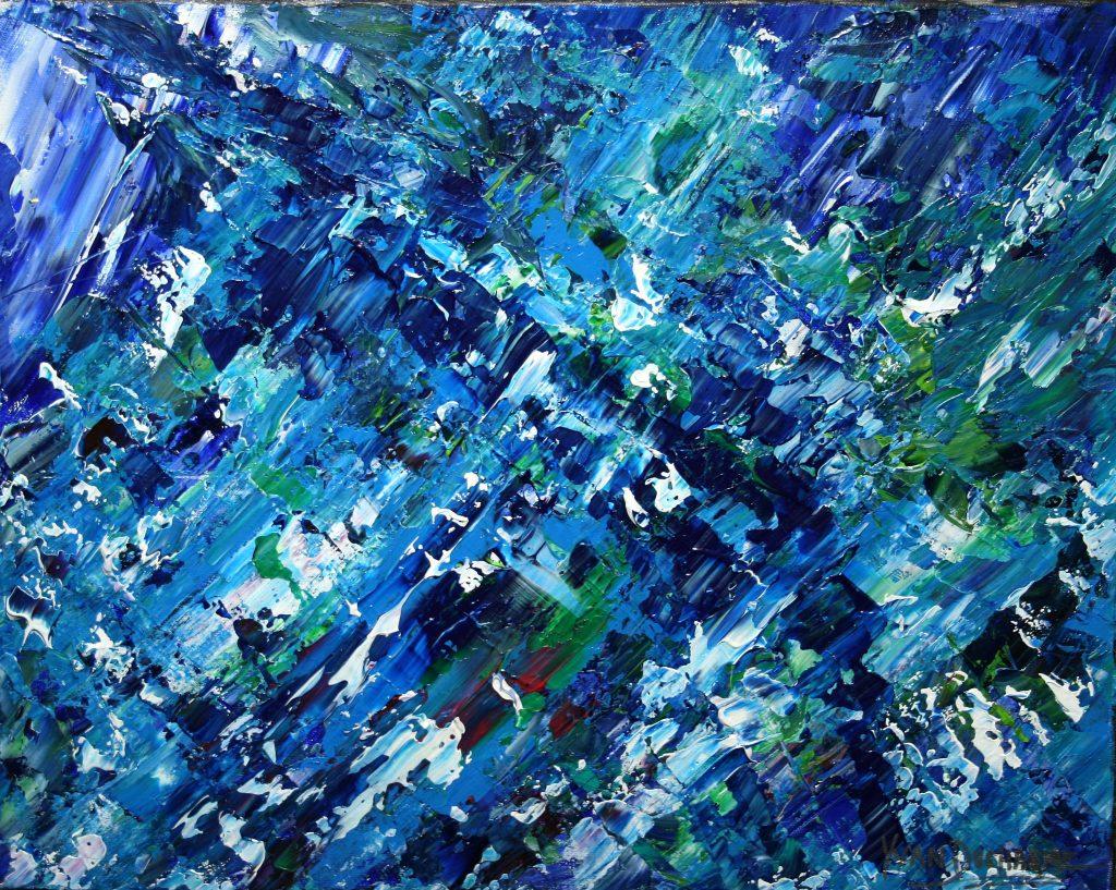 Yvan Ducharme peintre abstrait 228- Pluie de neige 20x16