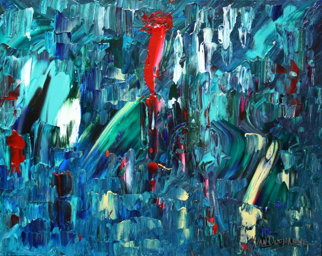 Yvan Ducharme peintre abstrait 229- À travers la fenêtre 20x16