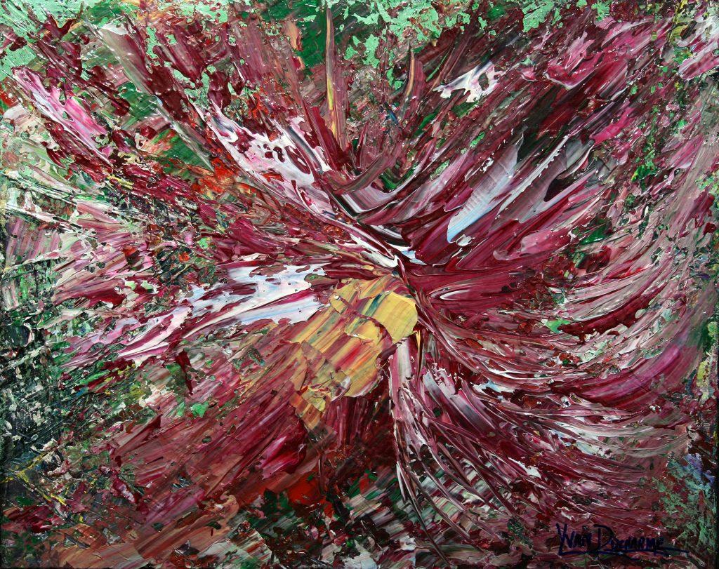 Yvan Ducharme peintre abstrait 231- Fleurs pour Grand mère 20x16