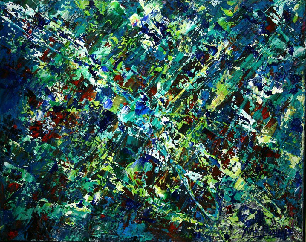 Yvan Ducharme peintre abstrait 235- Les planètes M & M 20x16