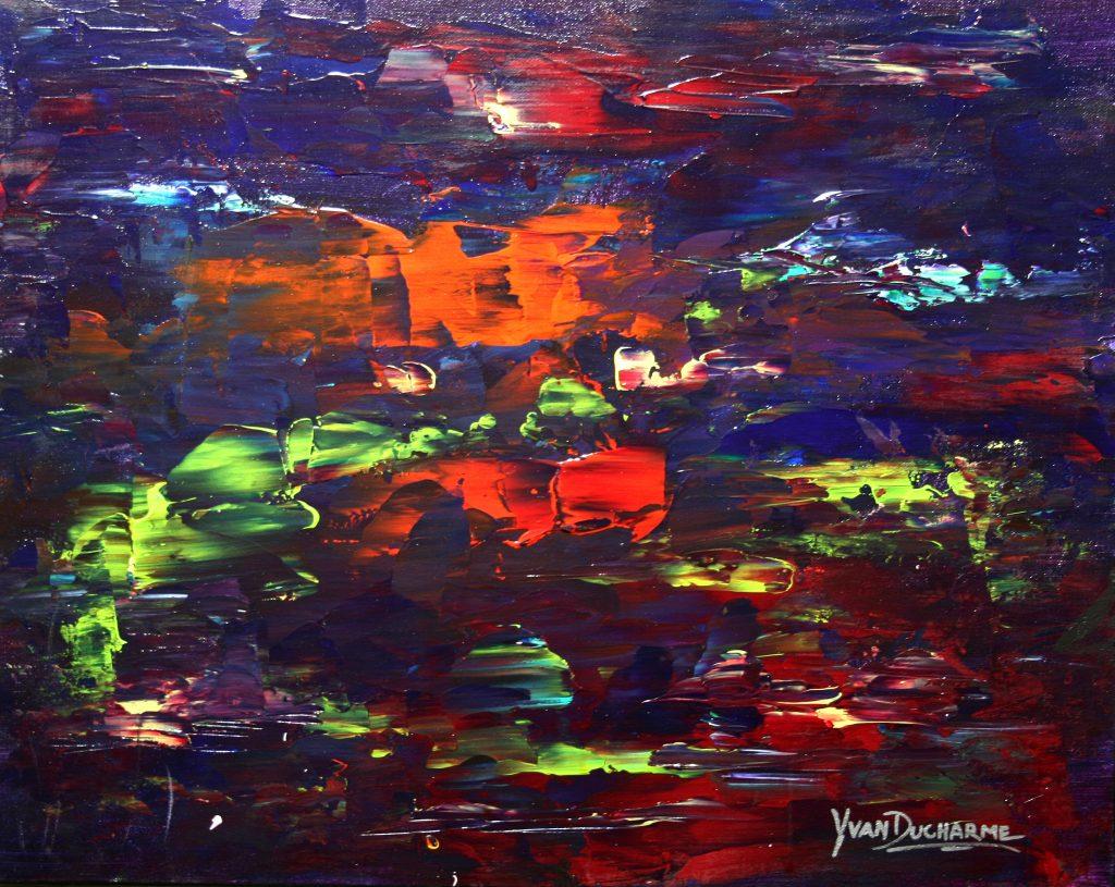 Yvan Ducharme peintre abstrait 239- Un soir... Une nuit 20x16