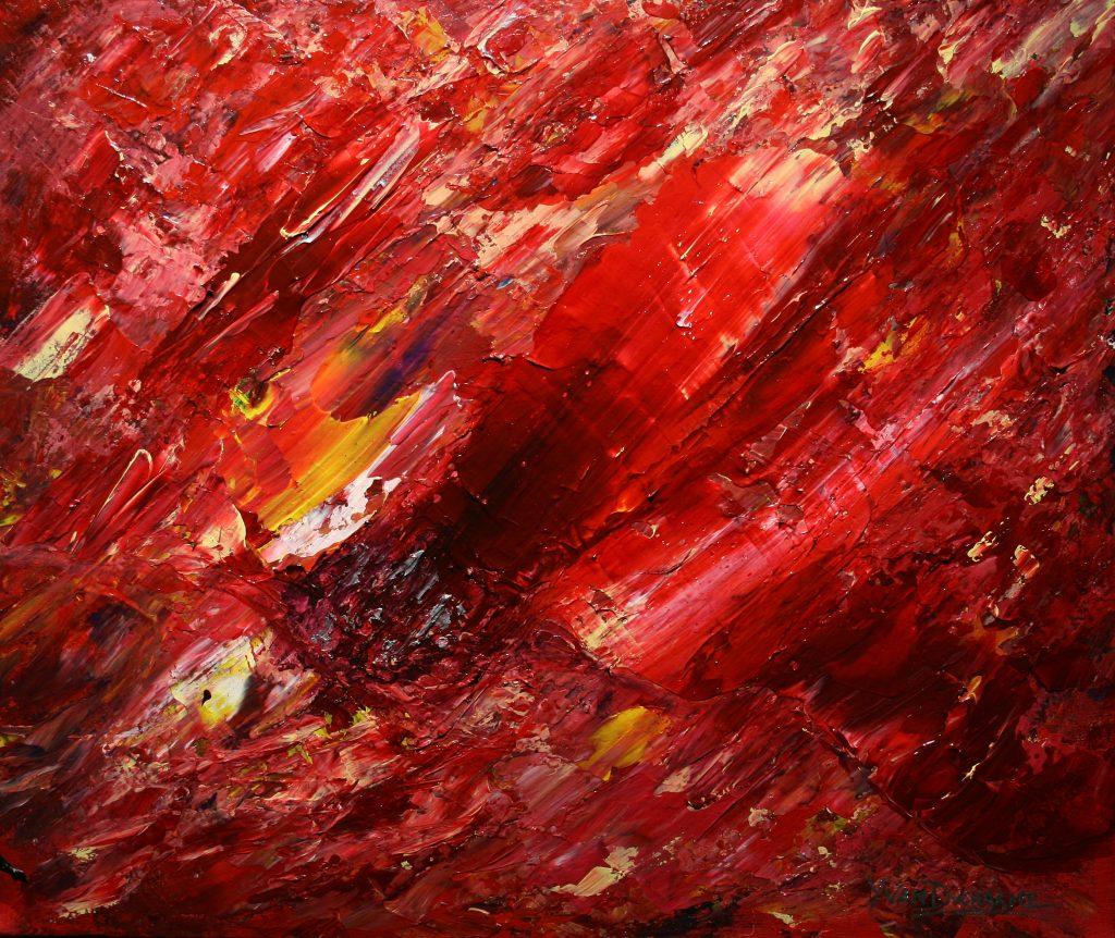 Yvan Ducharme peintre abstrait 250- Ciel du 19 juin 1954 -24x20
