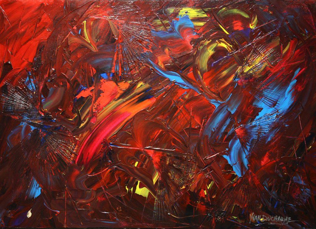 Yvan Ducharme peintre abstrait 251- La danse des lucioles 28x20