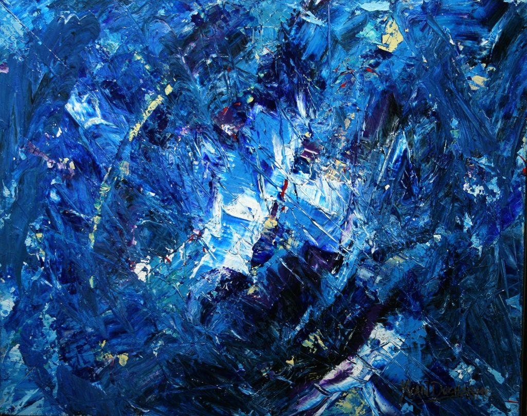 Yvan Ducharme peintre abstrait 255- Rêves dans la tourmente 20x16