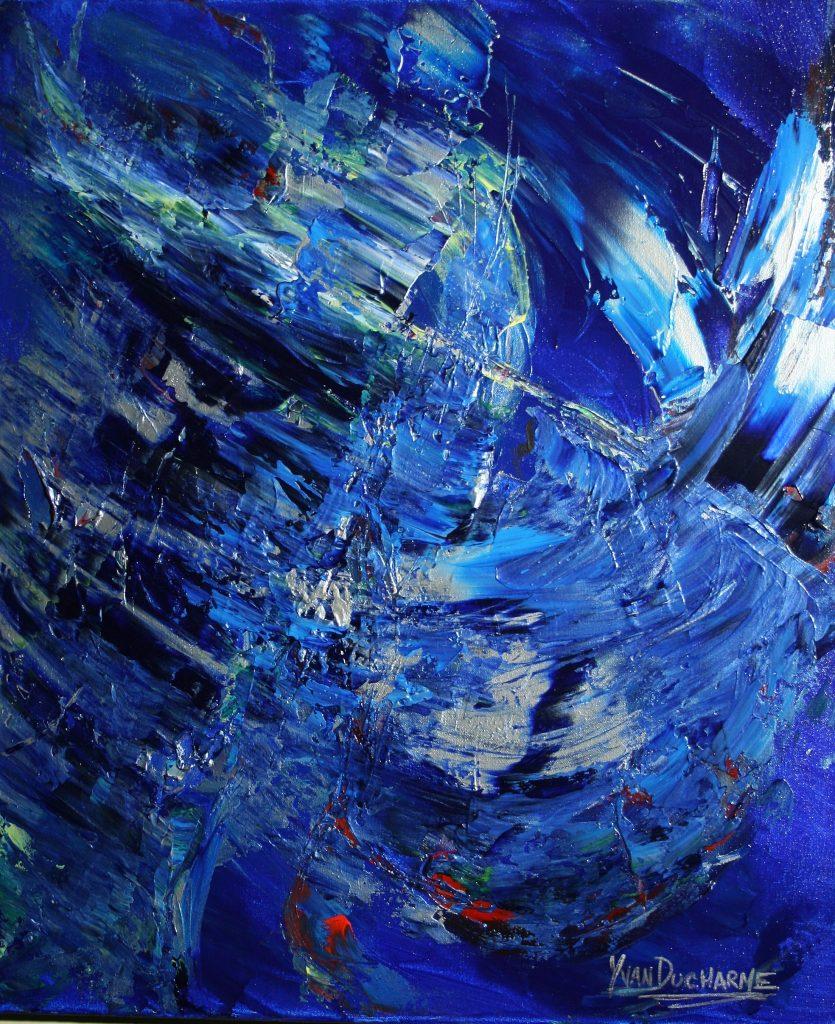 Yvan Ducharme peintre abstrait 257- La fabuleuse évasion des oiseaux bleus 20x24