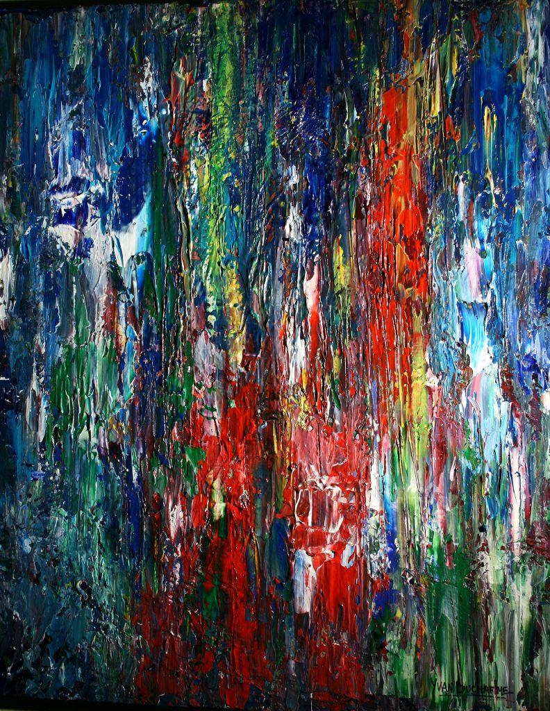 Yvan Ducharme peintre abstrait 259-La forêt enchantée de mon Abitibi 24x30