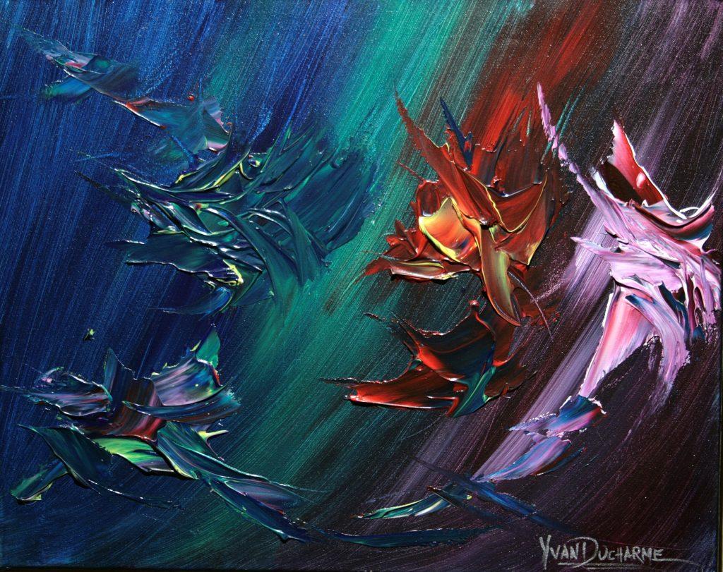 Yvan Ducharme peintre abstrait 264- Les oiseaux en fleurs 1 -20x16