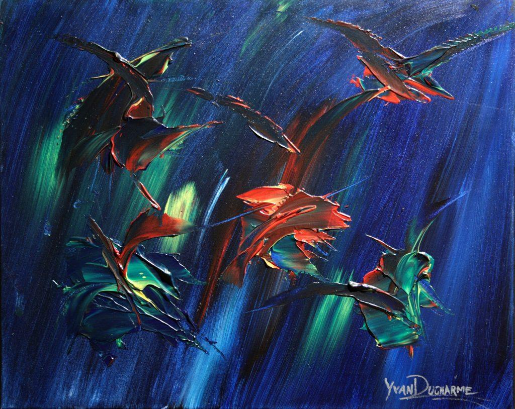 Yvan Ducharme peintre abstrait 265- Les oiseaux en fleurs 2 -20x16