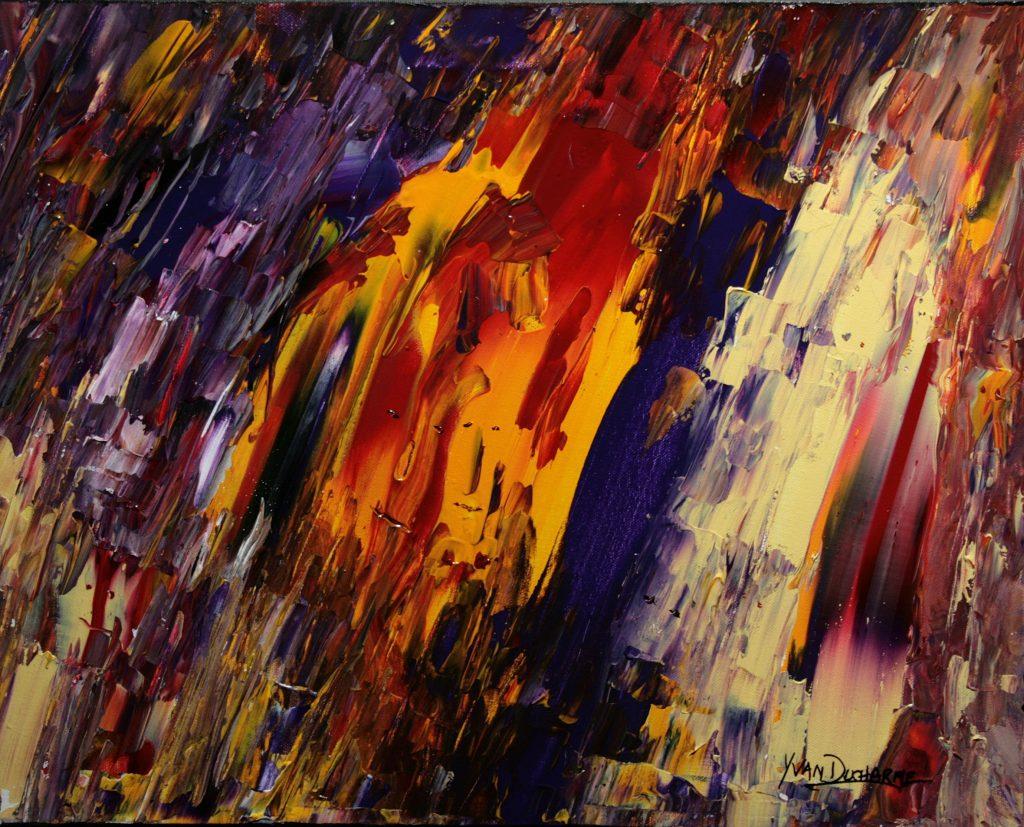 Yvan Ducharme peintre abstrait 267- Les masques 20x16