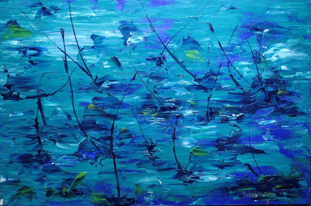 Yvan Ducharme peintre abstrait 272- Le ciel dans la mer 36x24