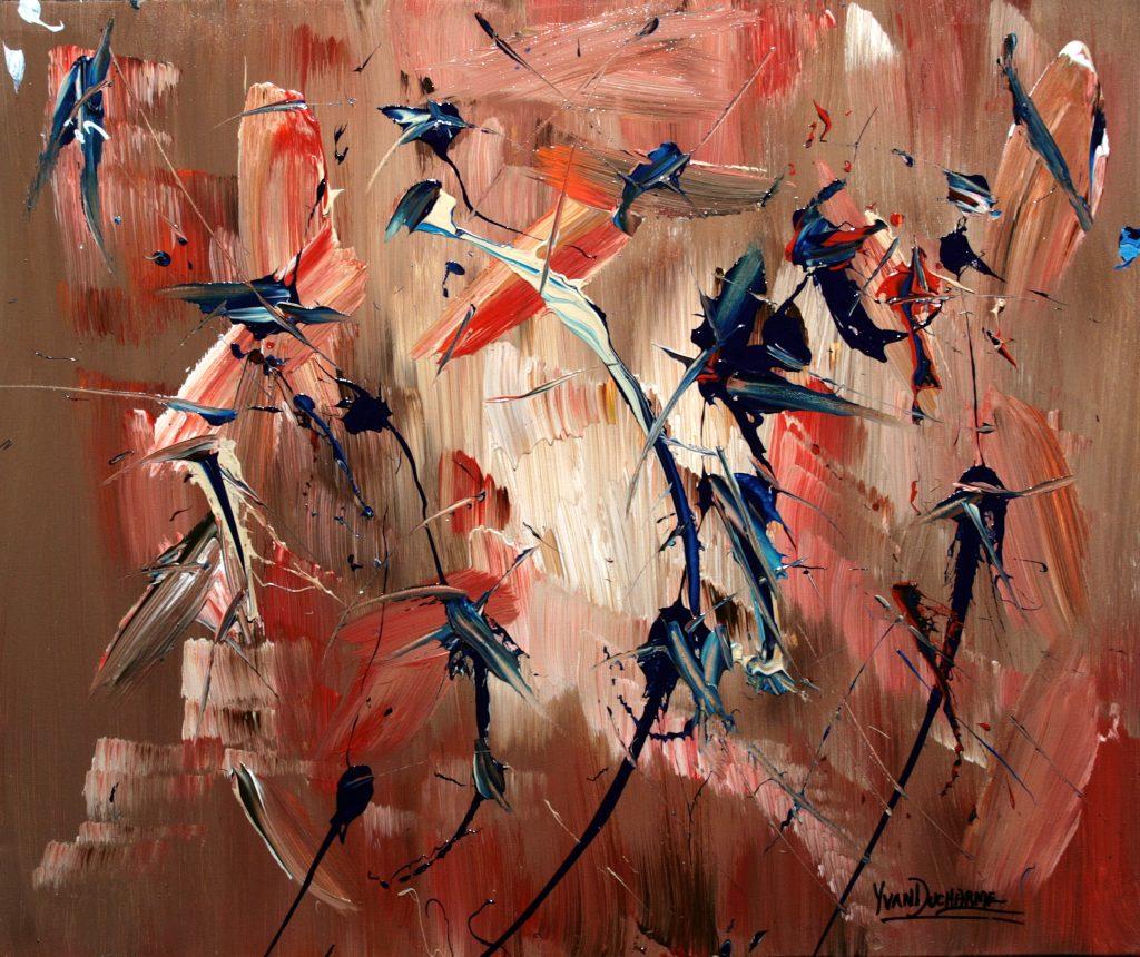Yvan Ducharme peintre abstrait 290- Colibris et amis 24x20