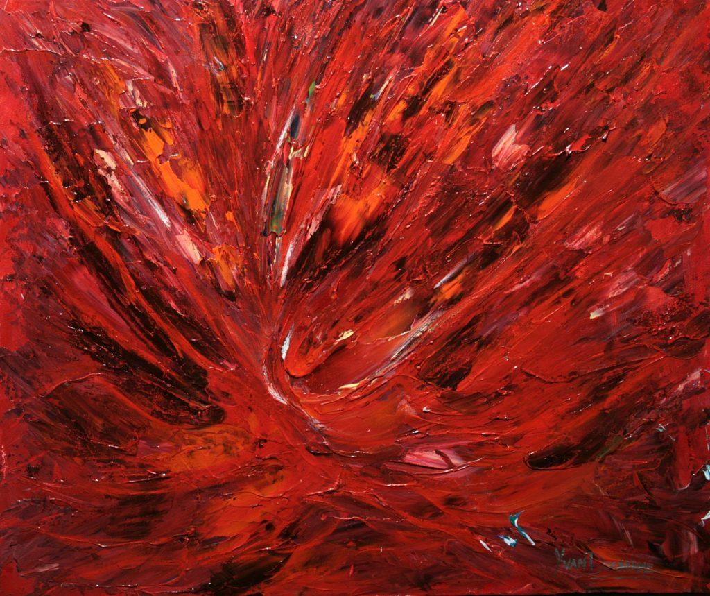 Yvan Ducharme peintre abstrait 308- Crépuscule des souvenirs 24x20