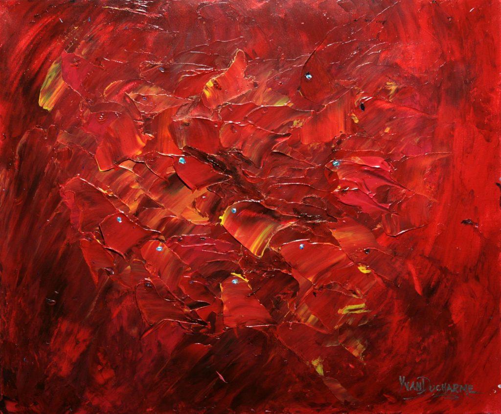 Yvan Ducharme peintre abstrait 312- Petits poissons rouges aux yeux bleus 24x20