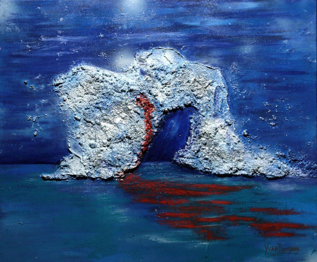 Yvan Ducharme peintre abstrait 313- Blessure à la dérive 24x20