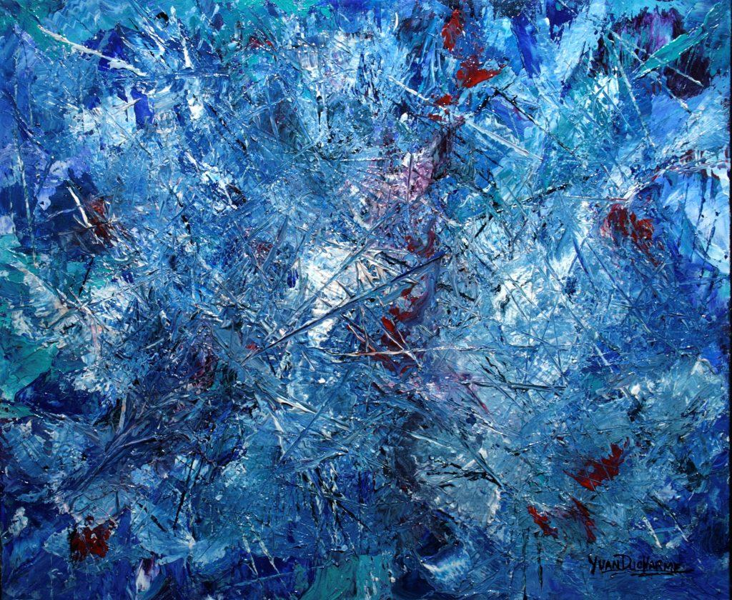 Yvan Ducharme peintre abstrait 317- Bleu fantasme 24x20