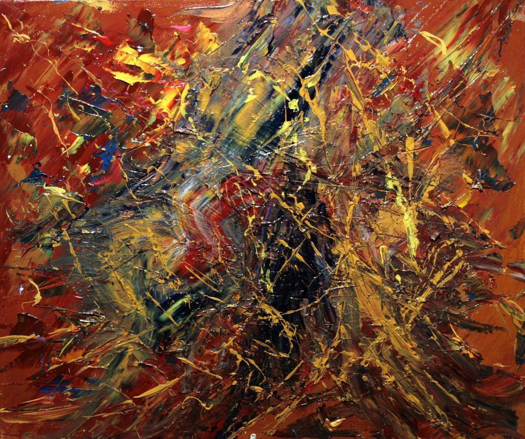Yvan Ducharme peintre abstrait 319- Oiseaux jaunes et papillons bleus 24x20
