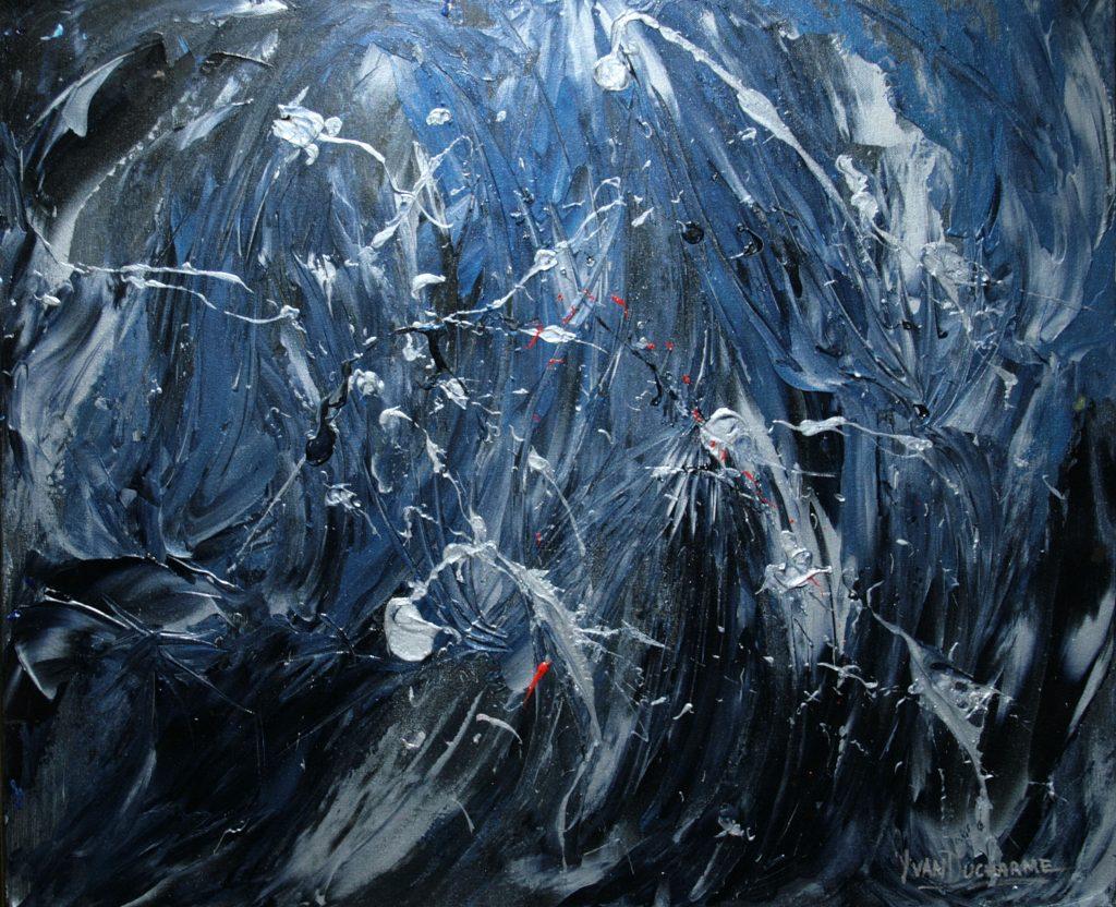 Yvan Ducharme peintre abstrait 321- Feu follet 24x20