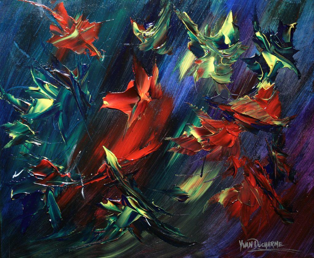 Yvan Ducharme peintre abstrait 324- Les oiseaux en fleurs -l