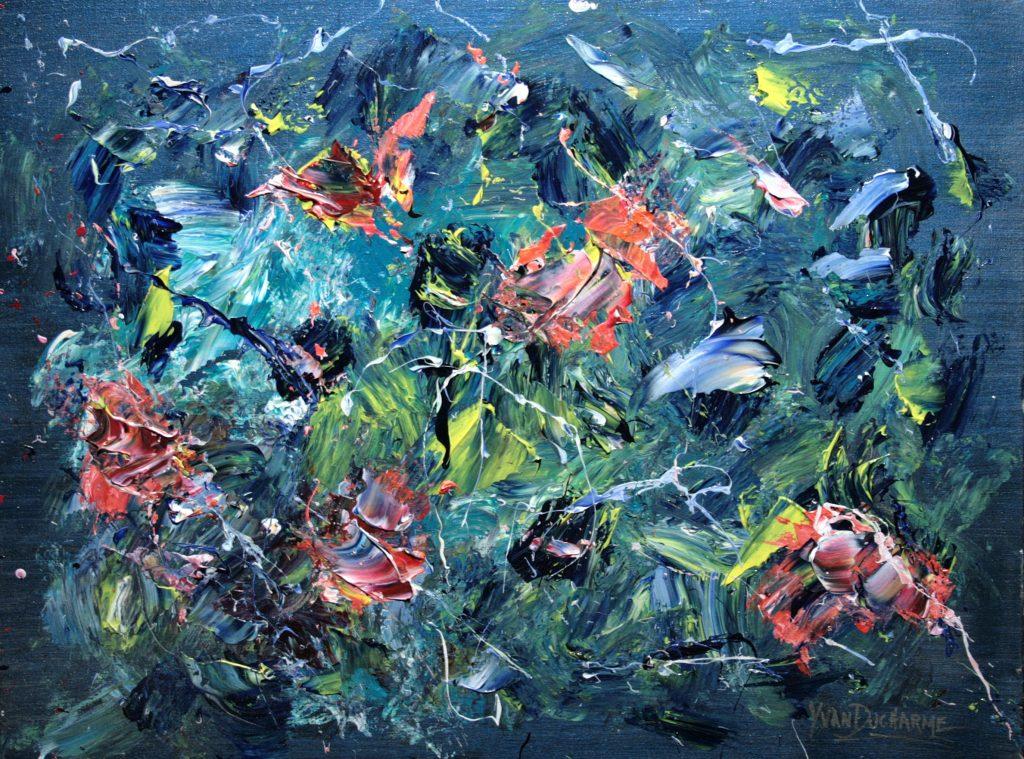 Yvan Ducharme peintre abstrait 331- Les papillons au jardin de Madame d