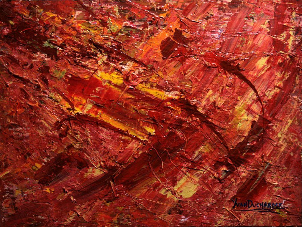 Yvan Ducharme peintre abstrait 334- Terre 2050 24x18