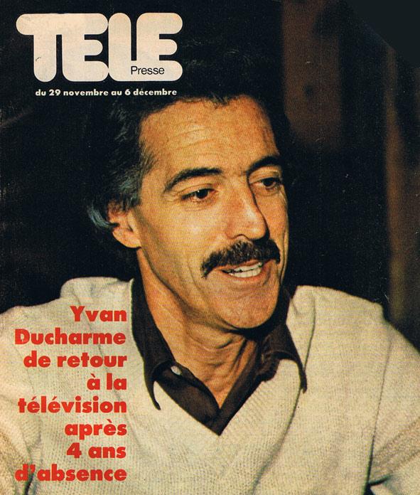 Yvan Ducharme dans le télé-presse 1980 pour son rôle dans le téléroman dominique suivant son cancer